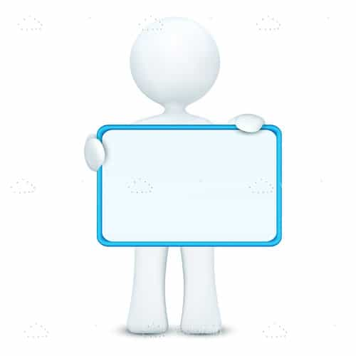 3D Stick Man holding Blank White Board