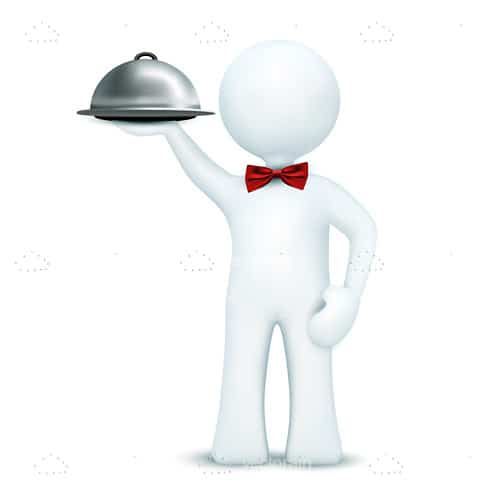 3D Human Figure of Waiter with Bow Tie and Serving Tray
