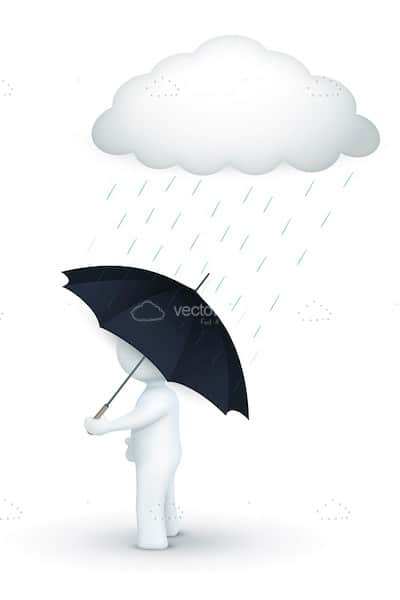 Abstract 3D Human Figure with Umbrella under Rainy Cloud