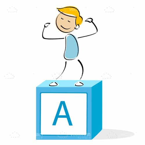 Illustrated Boy Celebrating atop a Letter A on a Cube