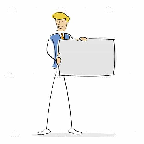 Businessman Holding Blank Board in Sketch Style