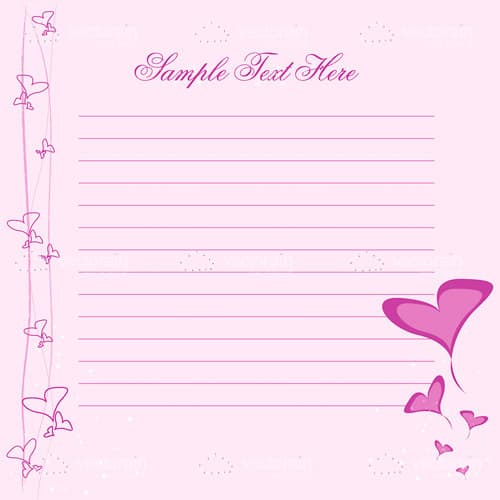 Pink Writing Paper Decorated with Hearts and Sample Text
