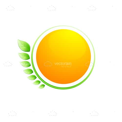Orange Circle With Green Surrounding and Abstract Leaves