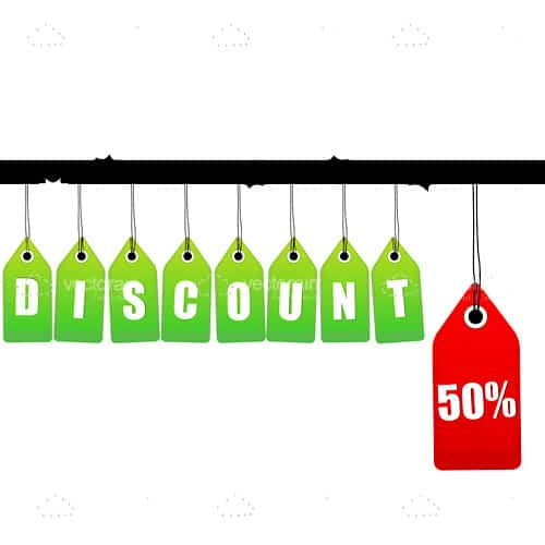 Hanging discount tags with 50% logo
