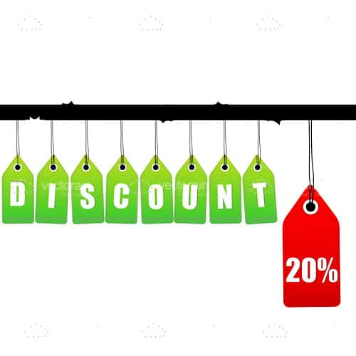 Hanging discount tags with 20% logo