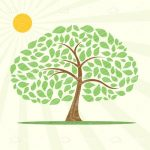 Abstract Illustrated Tree with Bright Sun