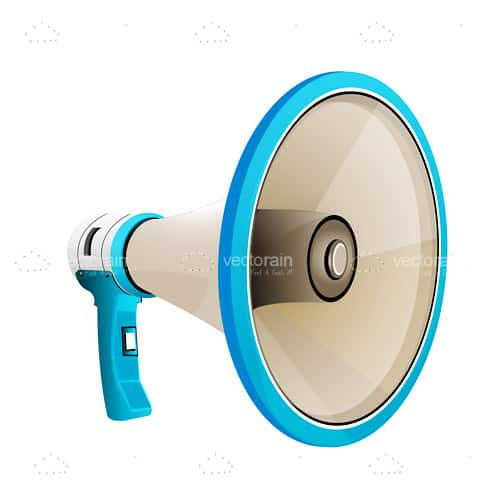 Megaphone in White and Blue