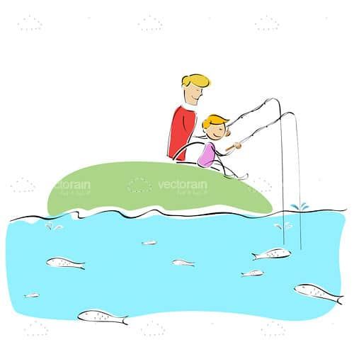 Illustrated Man and Boy Fishing