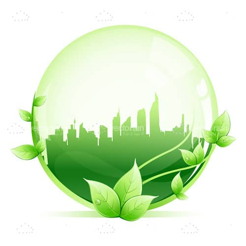 Green Sphere with Cityscape and Leaves