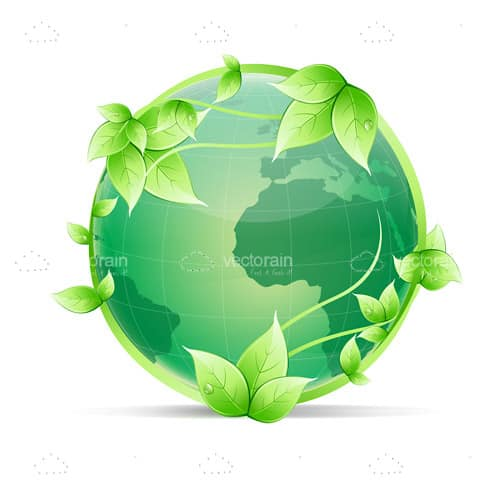 Green Globe Surrounded By Vines And Leaves Vectorjunky Free