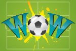 Wow Text with Soccer Ball in Soccer Field Background