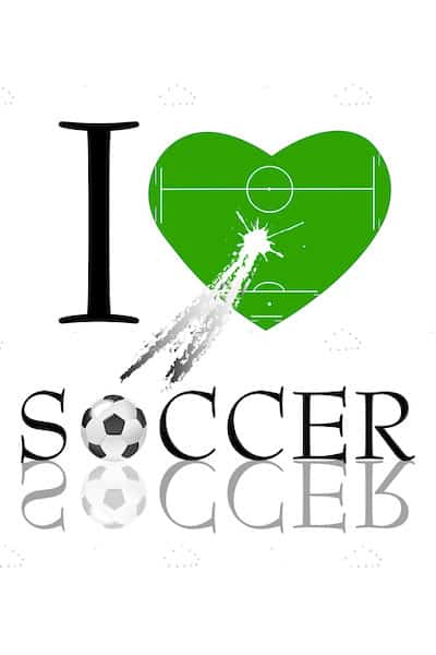 I Love Soccer Design with Heart, Soccer Field and Ball