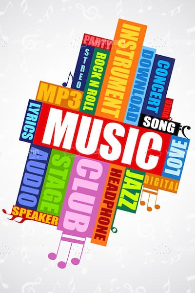 Colorful Music Related Words Collage