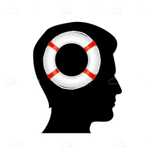 Silhouette of man thinking and lifebouy in his mind
