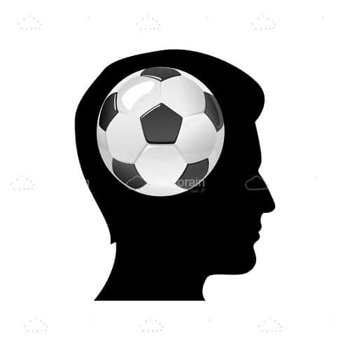 Silhouette of a Mans Head with a Football