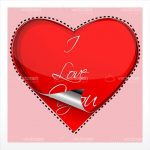 Red Heart with Folding Effect and I Love You Text