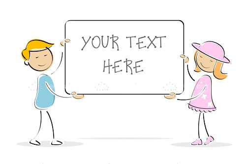 Kids Holding White Board with Sample Text