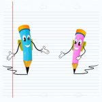 Cartoon Blue and Pink Pencils