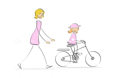Mother Running Behind Cycling Girl
