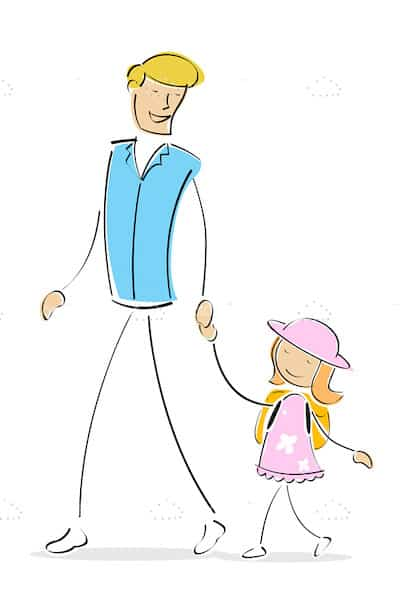 Father And Daughter Walking Holding Hands Vectorjunky Free
