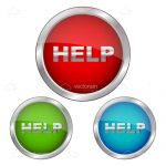 Red, Green and Blue Help Buttons with Silver Borders