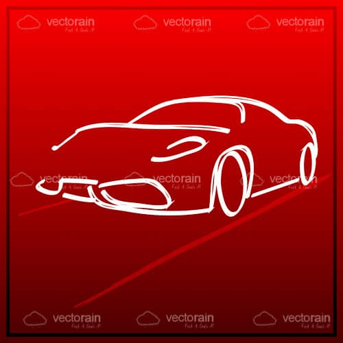Abstract Modern Car in Outline Style