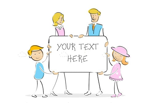 Illustrated Family Holding Sign with Sample Text