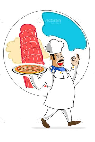Chef with Pizza and Italy Related Graphic