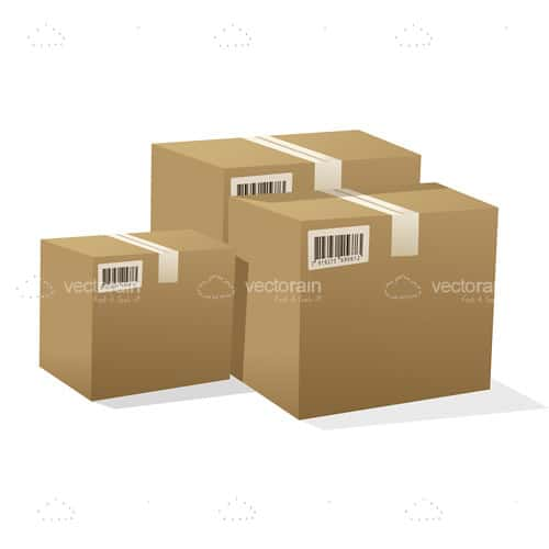 Trio of Shipping Boxes with Tracking Barcodes
