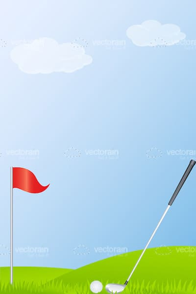 Golf Field Scene with Golf Club, Ball and Flagstick