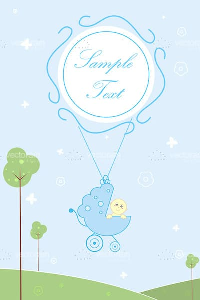 Abstract Pram with Baby Flying on Balloon with Sample Text