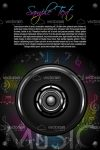Abstract Speaker in Dark Background with Colorful Musical Notes and Sample Text