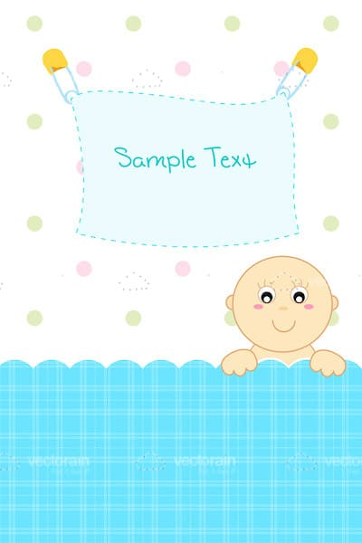 Abstract Baby in Crib with Sample Text on Sheet