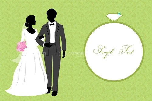 Silhouette Couple in Wedding Dress with Ring and Sample Text