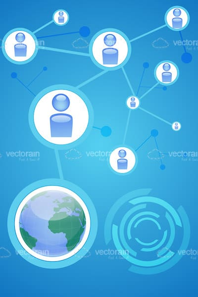 Social Network Concept with Abstract People and Earth Globe
