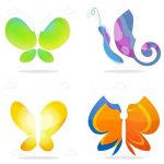 Colorful Abstract Butterflies Set
