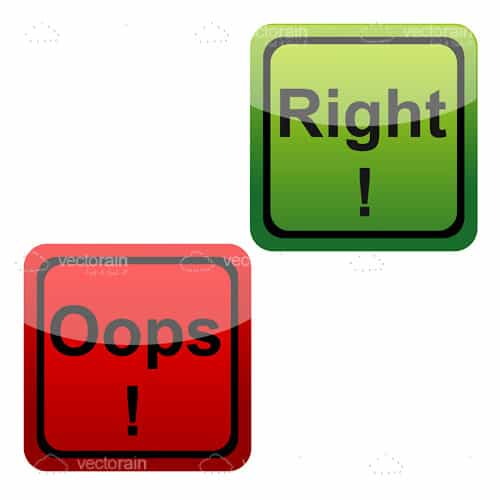 "Red and Green ""Right!"" and ""Oops"" Icons"