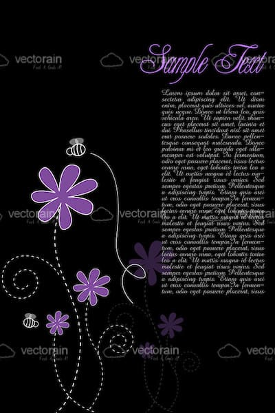 Purple Floral Card Background with Sample Text
