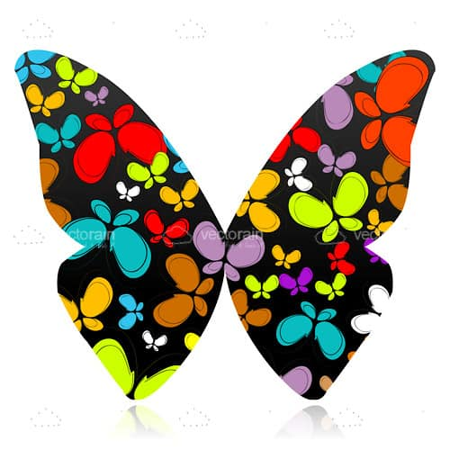 Colorful Butterfly with Smaller Butterflies Pattern