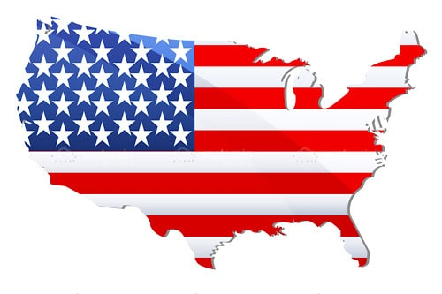 The United States of America Continent Shaped Flag
