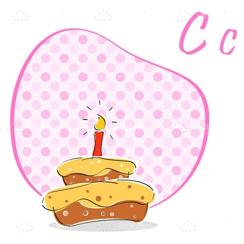 Illustrated Cake on an Abstract Pink Background