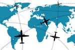 Abstract World Map with Airline Routes