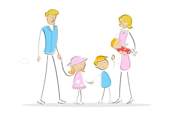 Illustrated Mother, Father and 3 Children