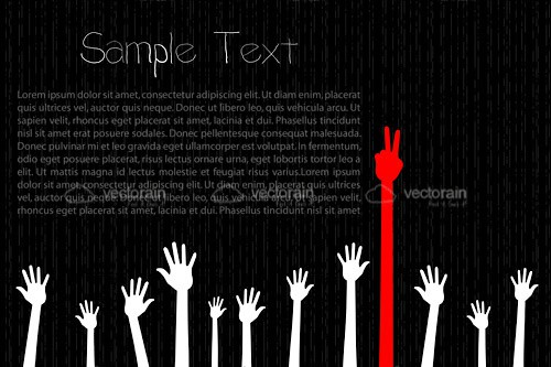 Abstract Hands in the Air Design with Sample Text