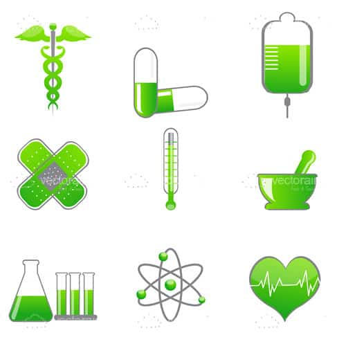 Medicine Icons in Green and White