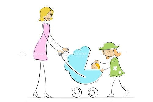 Mother with Girl and Baby in Pram