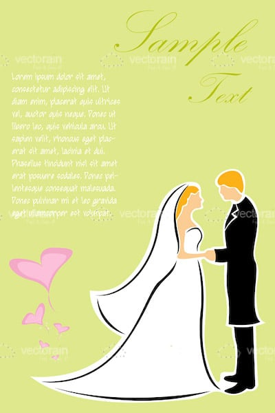Abstract Bride and Groom Couple with Sample Text