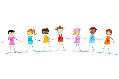 Abstract Children Lined Up Holding Hands