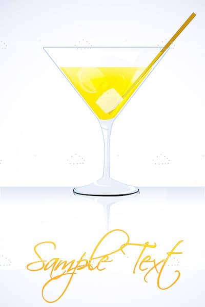 Yellow Cocktail in Martini Glass with Sample Text