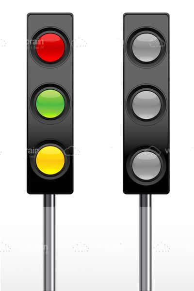 Pair of Traffic Lights On and Off